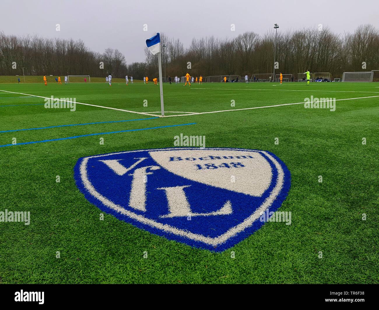 Wappen des VfL Bochum gesprueht auf dem Fussballrasen bei einem Fussballspiel, Deutschland, NRW, Ruhrgebiet, Bochum | blazon of the football club VfL - Stock Image