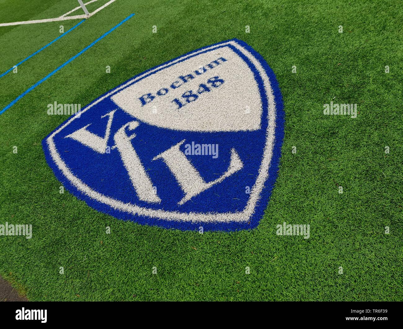 Wappen des VfL Bochum gesprueht auf dem Fussballrasen, Deutschland, NRW, Ruhrgebiet, Bochum | blazon of the football club VfL Bochum sprayed on a foot - Stock Image