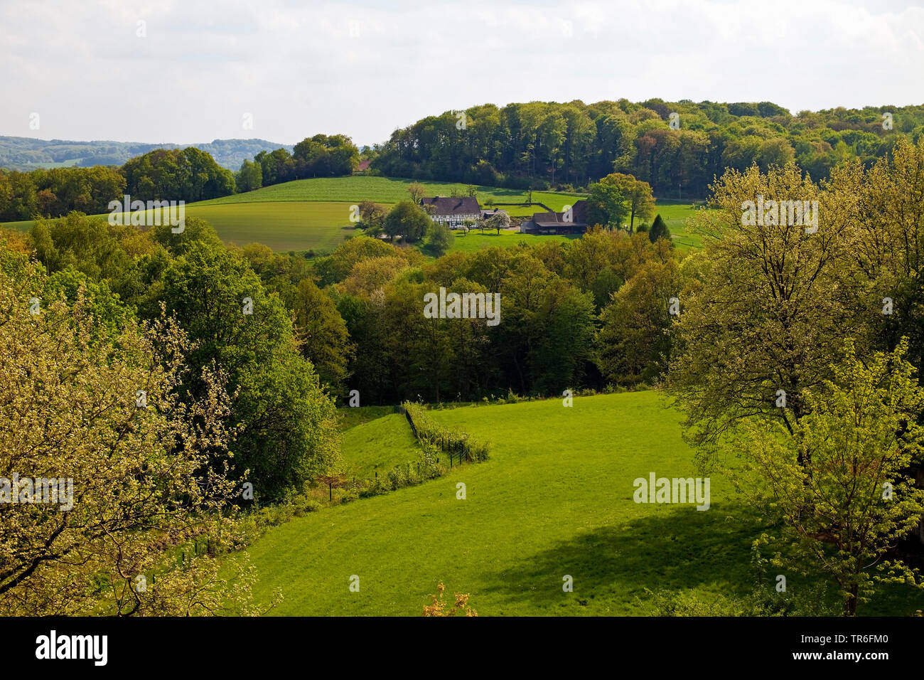 view from Ruhr University Bochum to farmhouse in the Lottental valley, Germany, North Rhine-Westphalia, Ruhr Area, Bochum Stock Photo