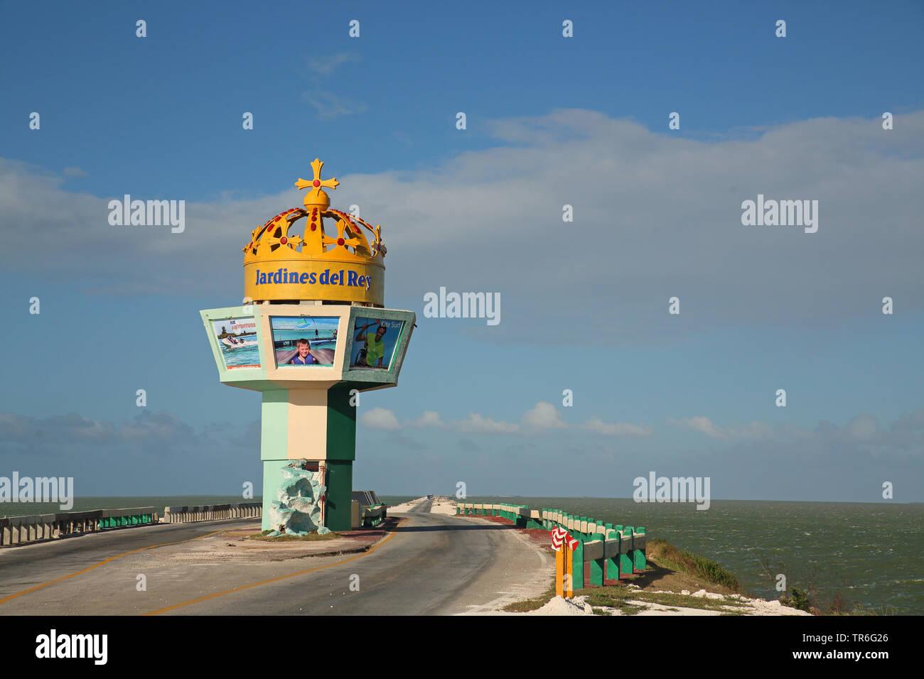 Jardines del Rey, causeway linking Cayo Coco to the mainland across Perros Bay, Cuba, Jardines del Rey Stock Photo