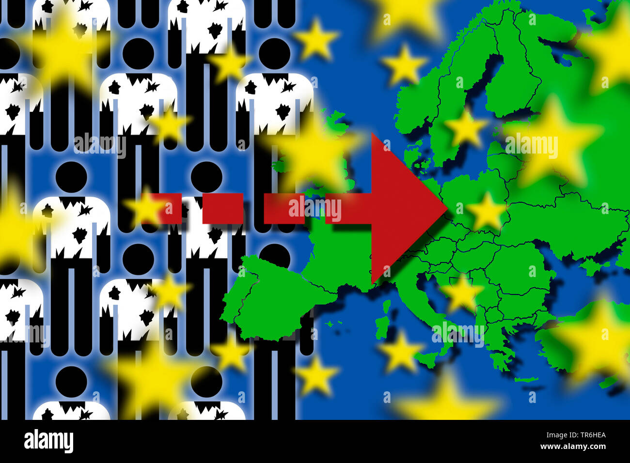 refugees and europe flag, influx of refugees to Europa, Germany - Stock Image
