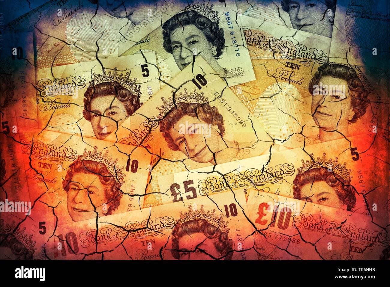 britische Pfundnoten mit Rissen, Kurssturz wegen Brexit | british pound bill with splits, price drop | BLWS484727.jpg [ (c) blickwinkel/McPHOTO/C. Ohd - Stock Image