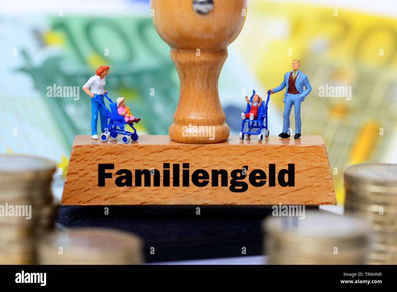 stamp with the inscription Familiengeld, money fpr families, Germany Stock Photo