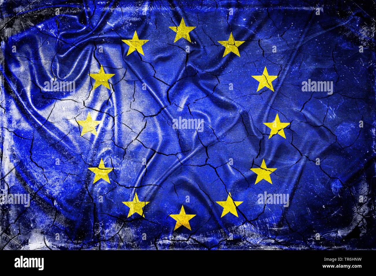 Europa-Fahne mit Rissen, Symbolfoto Europa nach dem Brexit-Votum, Europa | flag of the European Community with cracks, symbol picture Brexit, Europe | - Stock Image