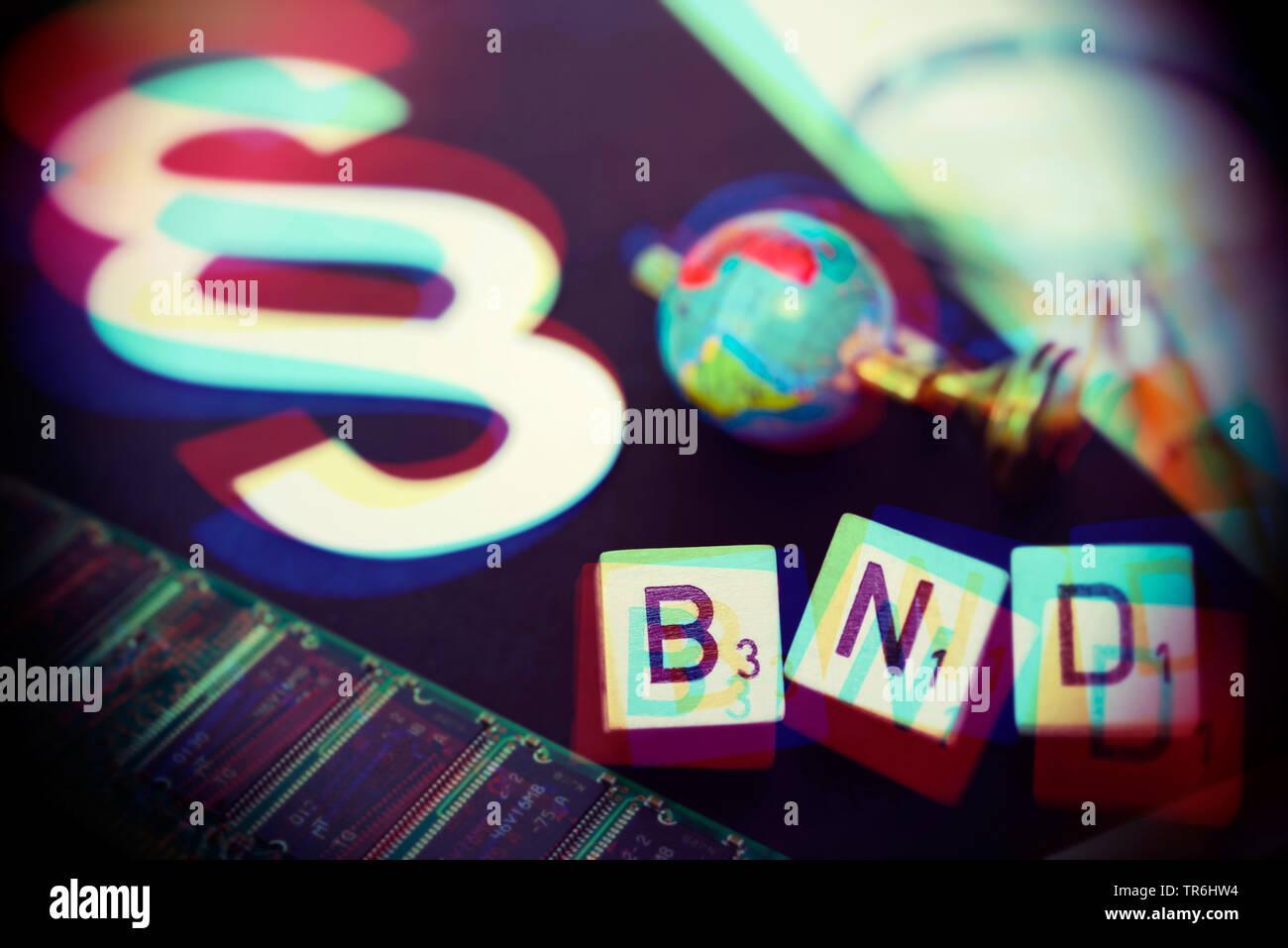 Wuerfelbuchstaben bilden den Schriftzug BND vor Gesetzbuch, Symbolfoto BND-Gesetz, Deutschland | paragraph sign an BND, news BND law, Germany | BLWS48 - Stock Image