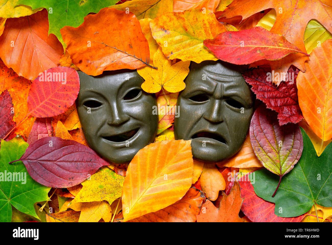 masks among autum leaves, autum blues, Germany Stock Photo