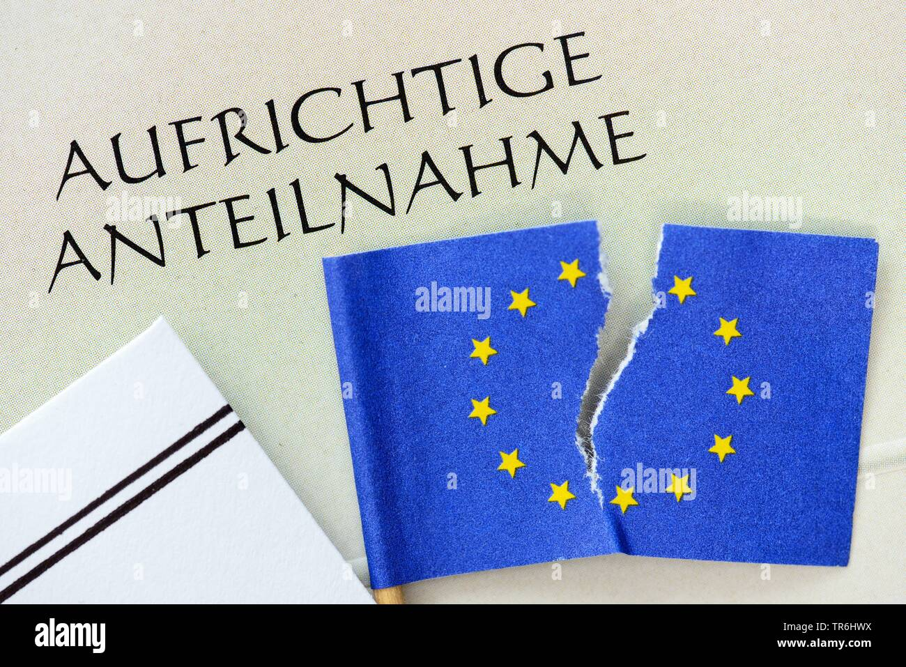 splitted EU flags and condolence card, Germany Stock Photo