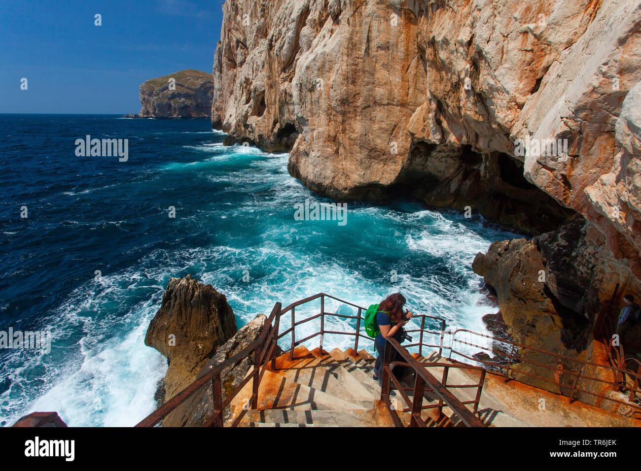 Grotta di Nettuno, Neptunsgrotte, Stufen Escala del Cabriol, Italien, Sardinien | capo caccia, Grotta di Nettuno, stairs escala del cabriol, Italy, Sa - Stock Image