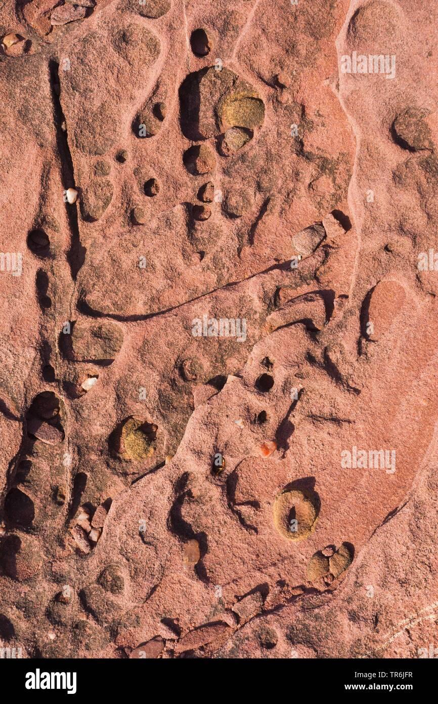 Strukturen im Gestein in der Bucht von Porto Ferro, Italien, Sardinien, Alghero | structures in the rock of the bay Porto Ferro, Italy, Sardegna, Algh - Stock Image
