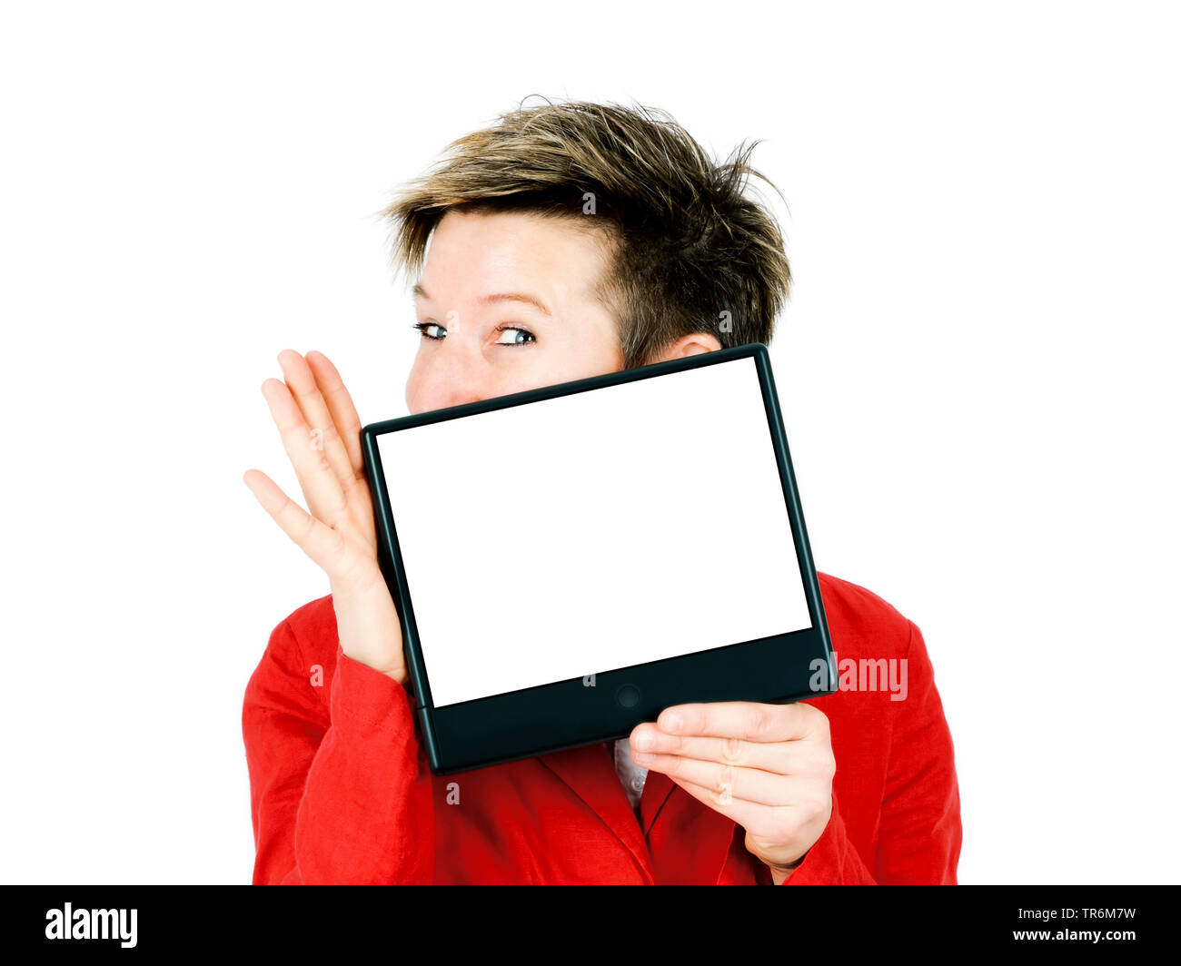 shorthaired woman presenting a blank screen, Germany - Stock Image