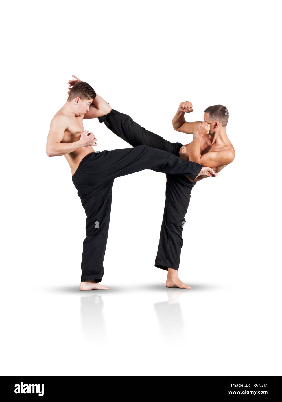 zwei Maenner beim Kickboxen, Deutschland | two man kickboxing, Germany | BLWS487483.jpg [ (c) blickwinkel/McPHOTO/M. Gann Tel. +49 (0)2302-2793220, E- - Stock Image