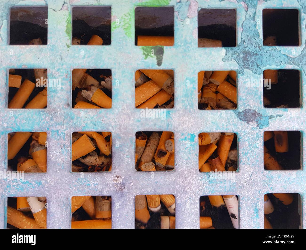 outdoor ashtray, Germany Stock Photo