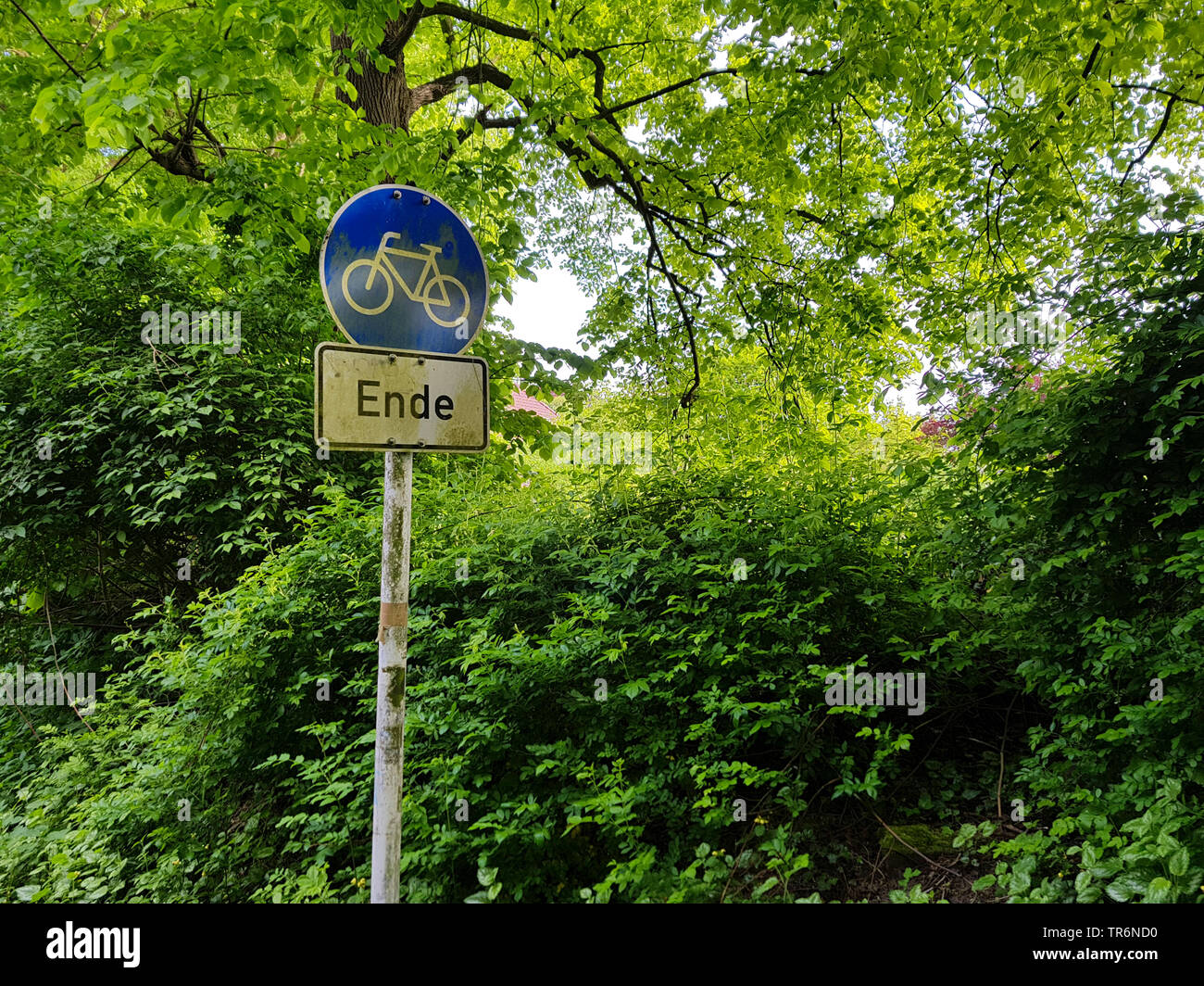 end of a cycle way, Germany, North Rhine-Westphalia, Ruhr Area, Witten - Stock Image