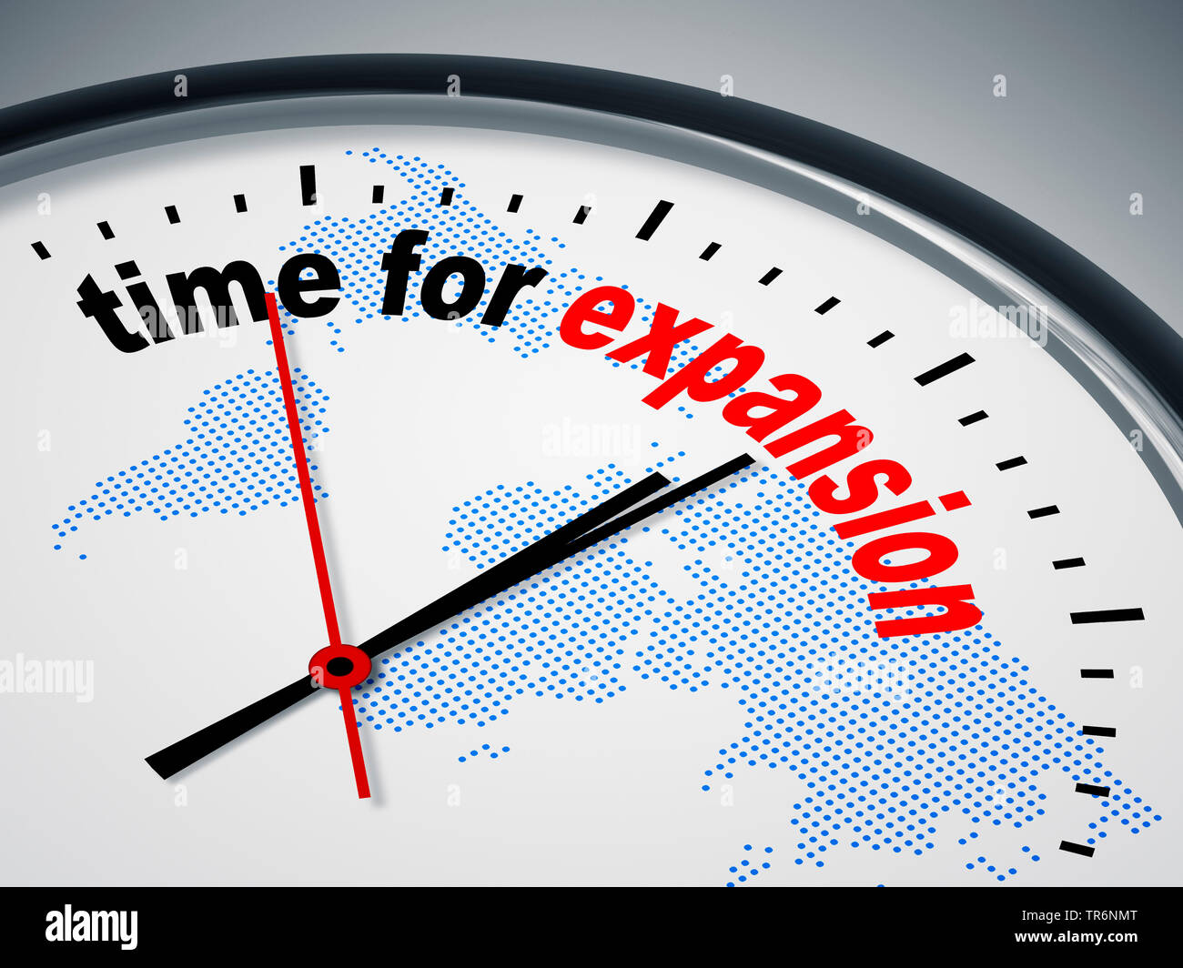 clock face with inscription time for expansion Stock Photo
