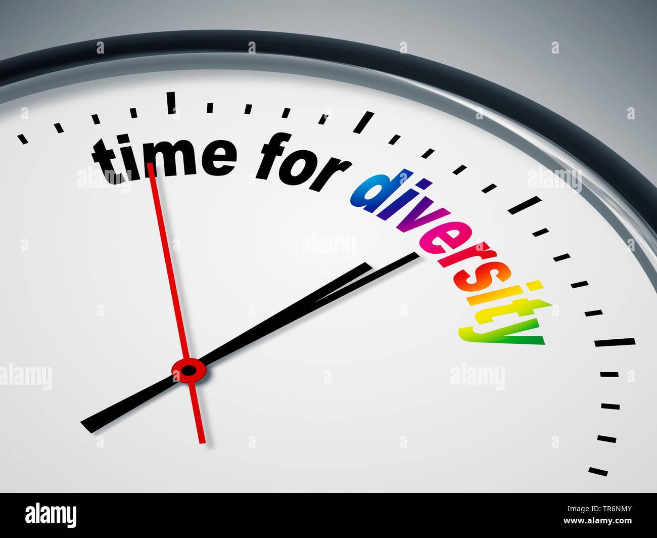 Ziffernblatt mit der englischen Aufschrift time for diversity, Zeit fuer Unterschiede, Vielfalt | clock face with inscription time for diversity | BLW - Stock Image
