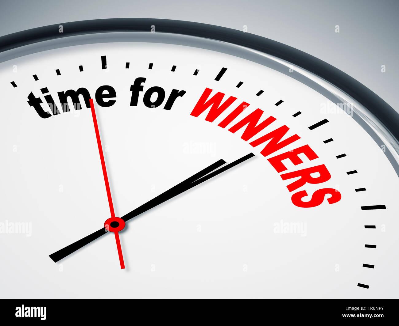 Ziffernblatt mit der englischen Aufschrift time for winners, Zeit fuer Sieger | clock face with inscription time for winners | BLWS488162.jpg [ (c) bl - Stock Image