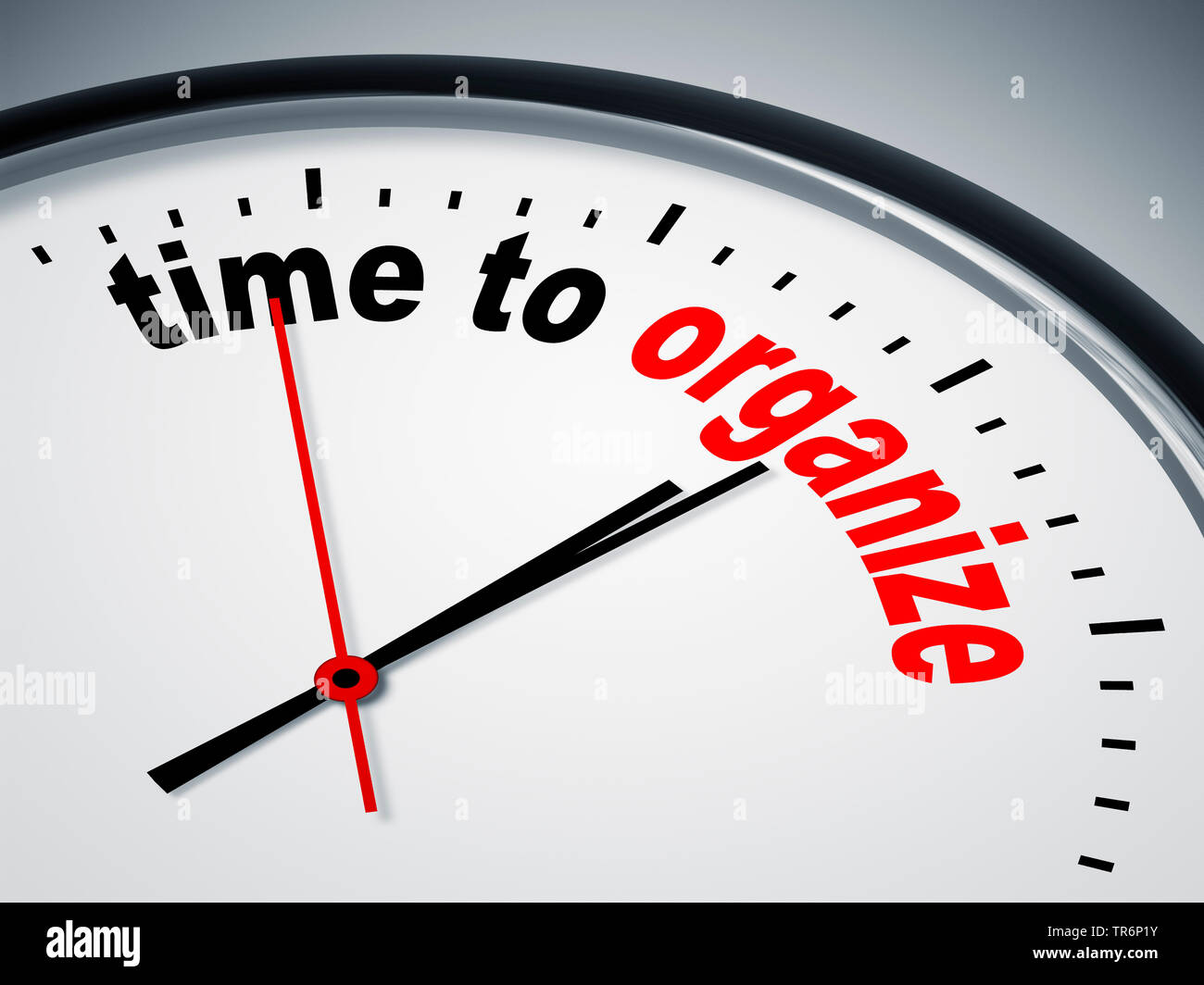 clock face with inscription time to organize - Stock Image