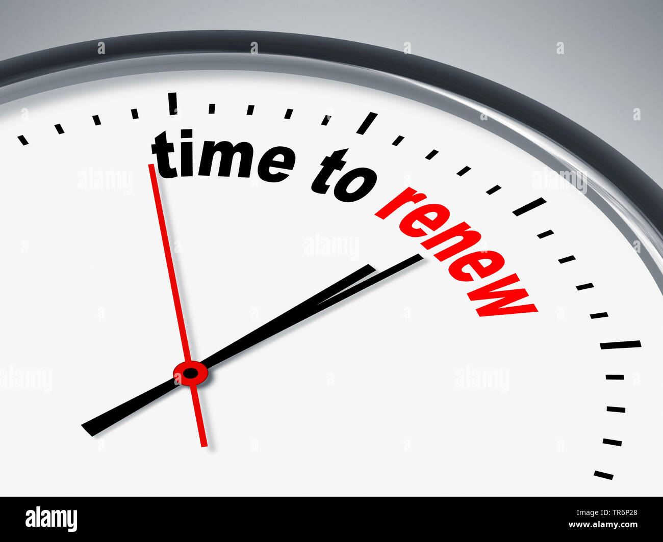 clock face with inscription time to renew - Stock Image