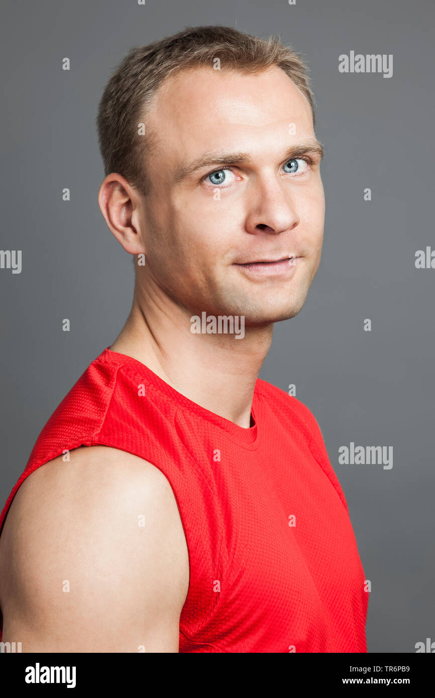 Portait Of A Blond Man With Blue Eyes Germany Stock Photo