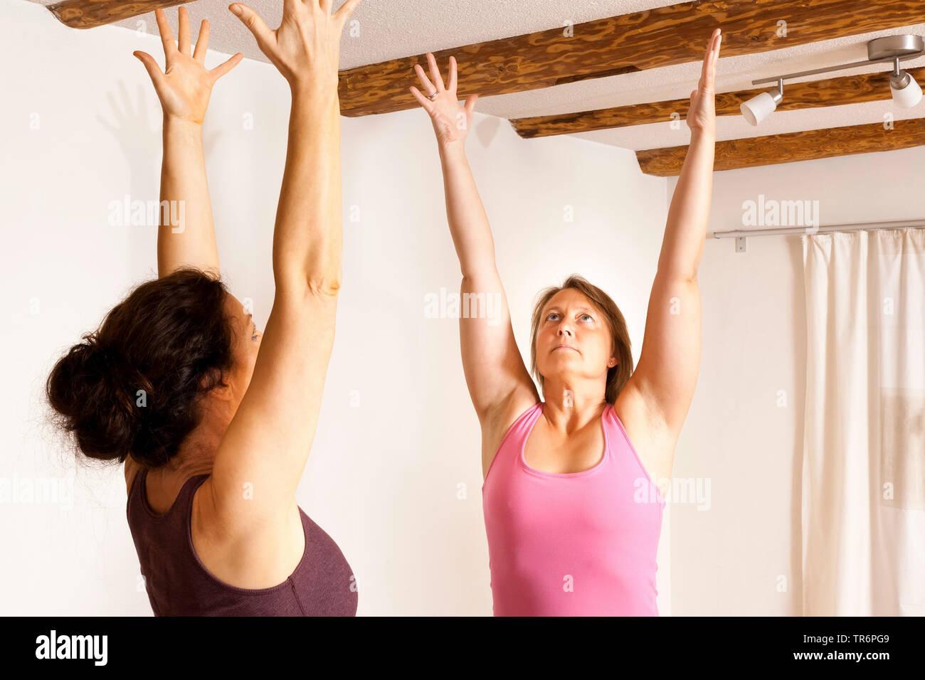 zwei junge Frauen machen Yogauebungen im Wohnzimmer, strecken sich | two women doing yoga in the living room at home | BLWS488765.jpg [ (c) blickwinke - Stock Image