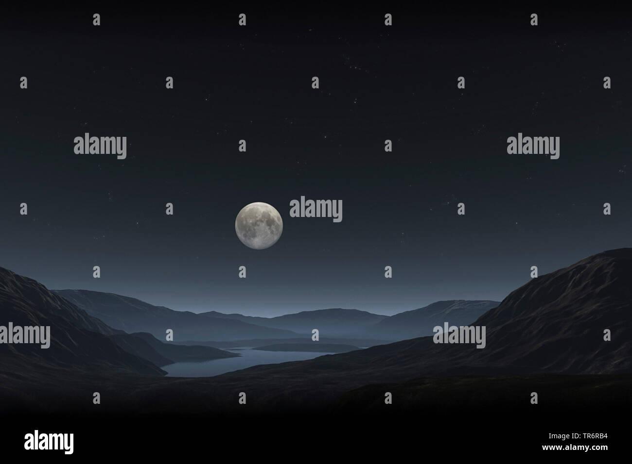 virtuelle Berglandschaft mit See bei Vollmond, Computergrafik | virtual mountain scenery with lake at full moon, computer graphic | BLWS489485.jpg [ ( - Stock Image