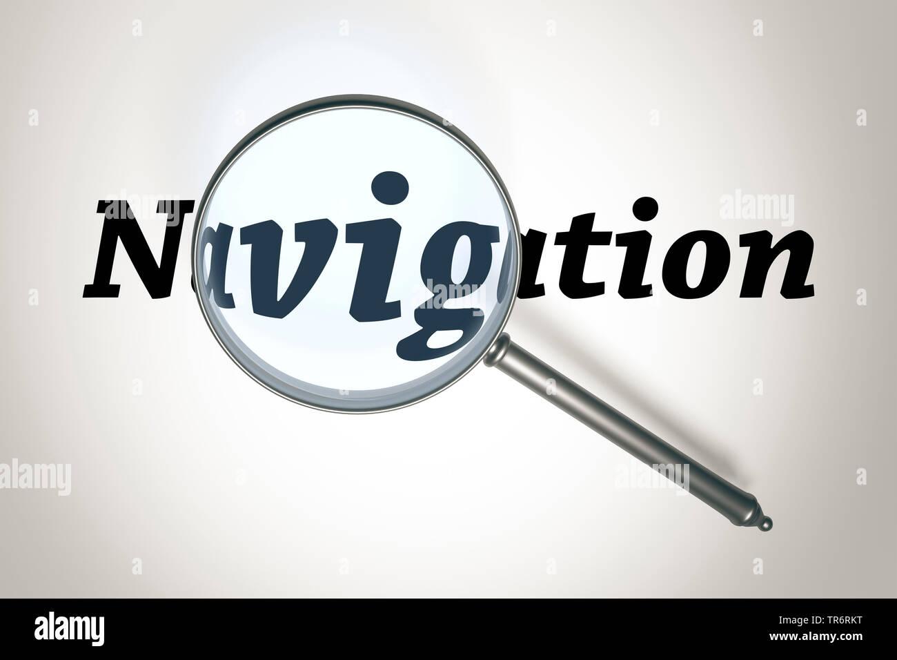 Lupe vergroessert das Wort Navigation   magnifying glass with the word Navigation   BLWS489733.jpg [ (c) blickwinkel/McPHOTO/M. Gann Tel. +49 (0)2302- - Stock Image