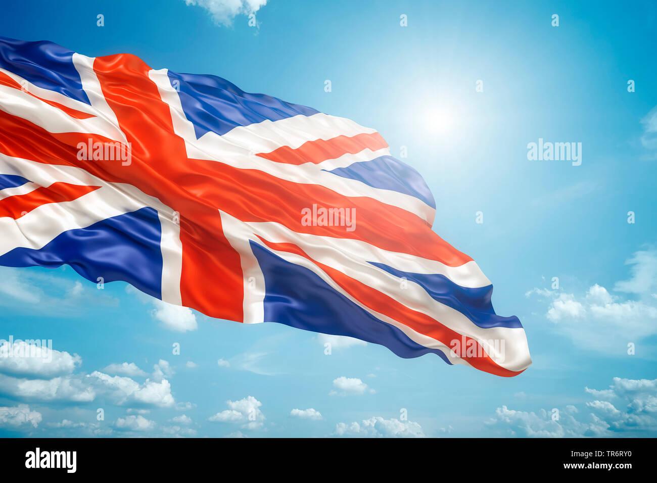 Union Jack vor blauem Himmel, United Kingdom - Stock Image