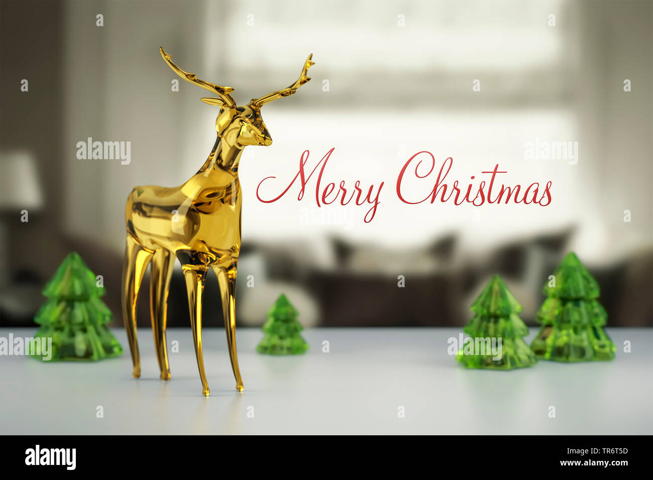 merry christmas card with rein deer, computer graphik - Stock Image