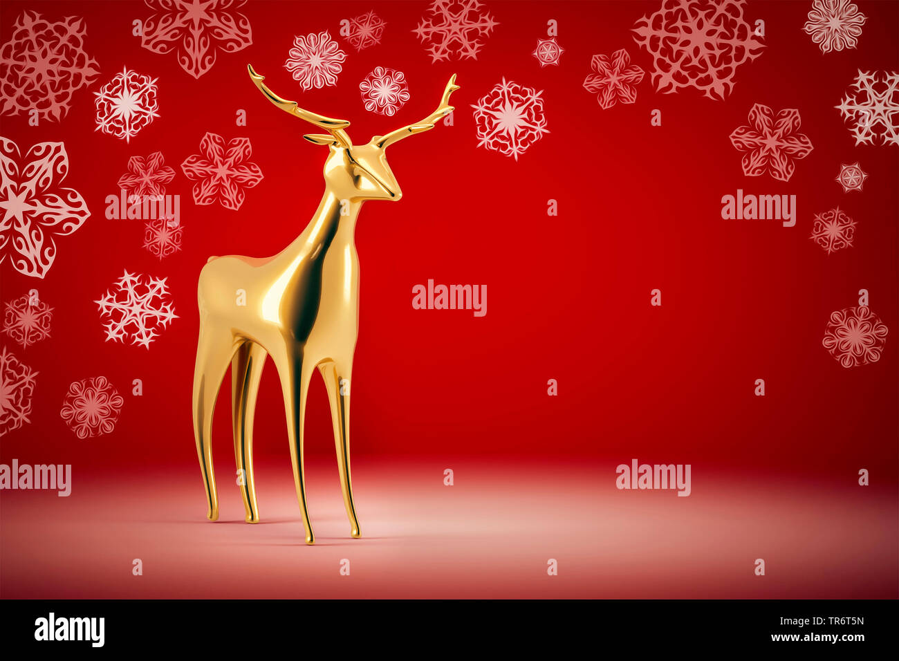 merry christmas card with rein deer and snowflakes, computer graphik - Stock Image