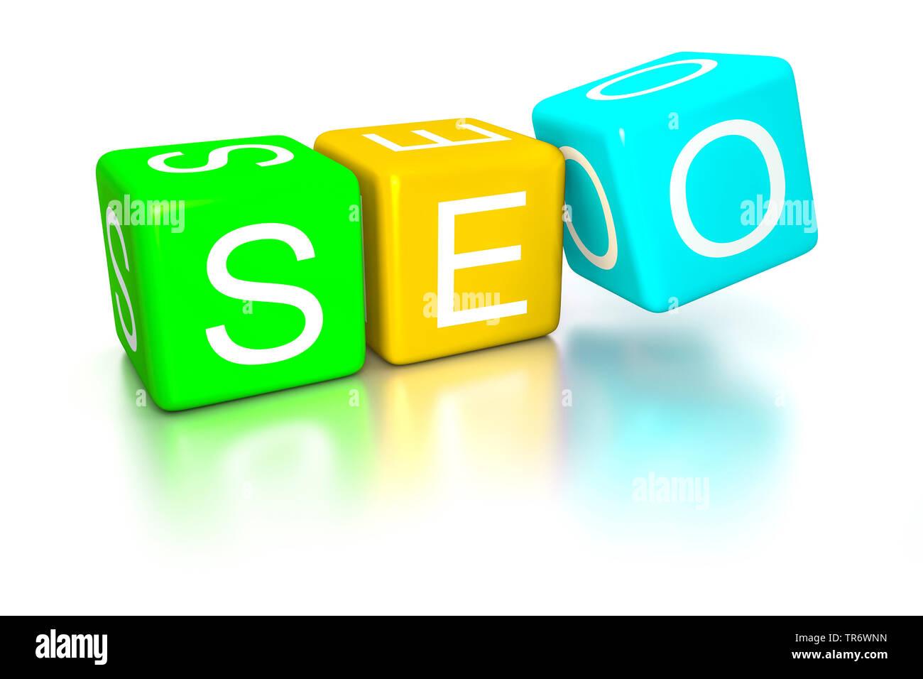 3D Computergrafik, Schriftzug SEO (Search engine optimization) in Wuerfeldarstellung, Europa | 3D computer graphic, lettering SEO (Search engine optim - Stock Image