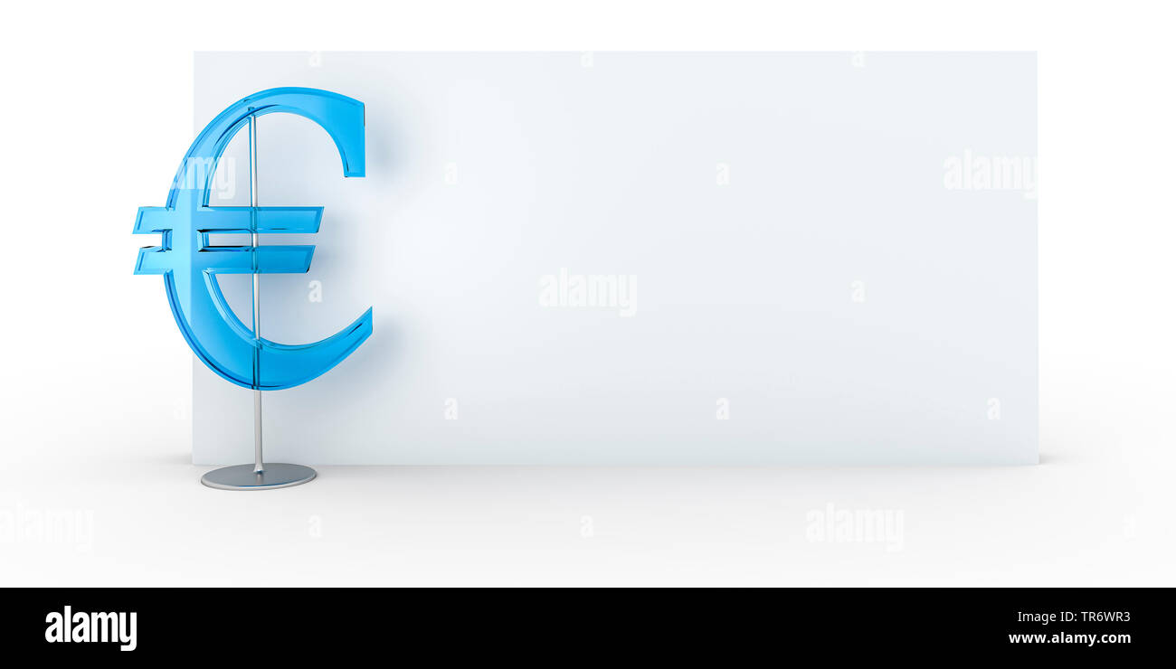 3D Computergrafik, leeres Schild mit EURO Symbol, Europa | 3D computer graphic, empty sign with EURO symbol, Europe | BLWS491462.jpg [ (c) blickwinkel - Stock Image