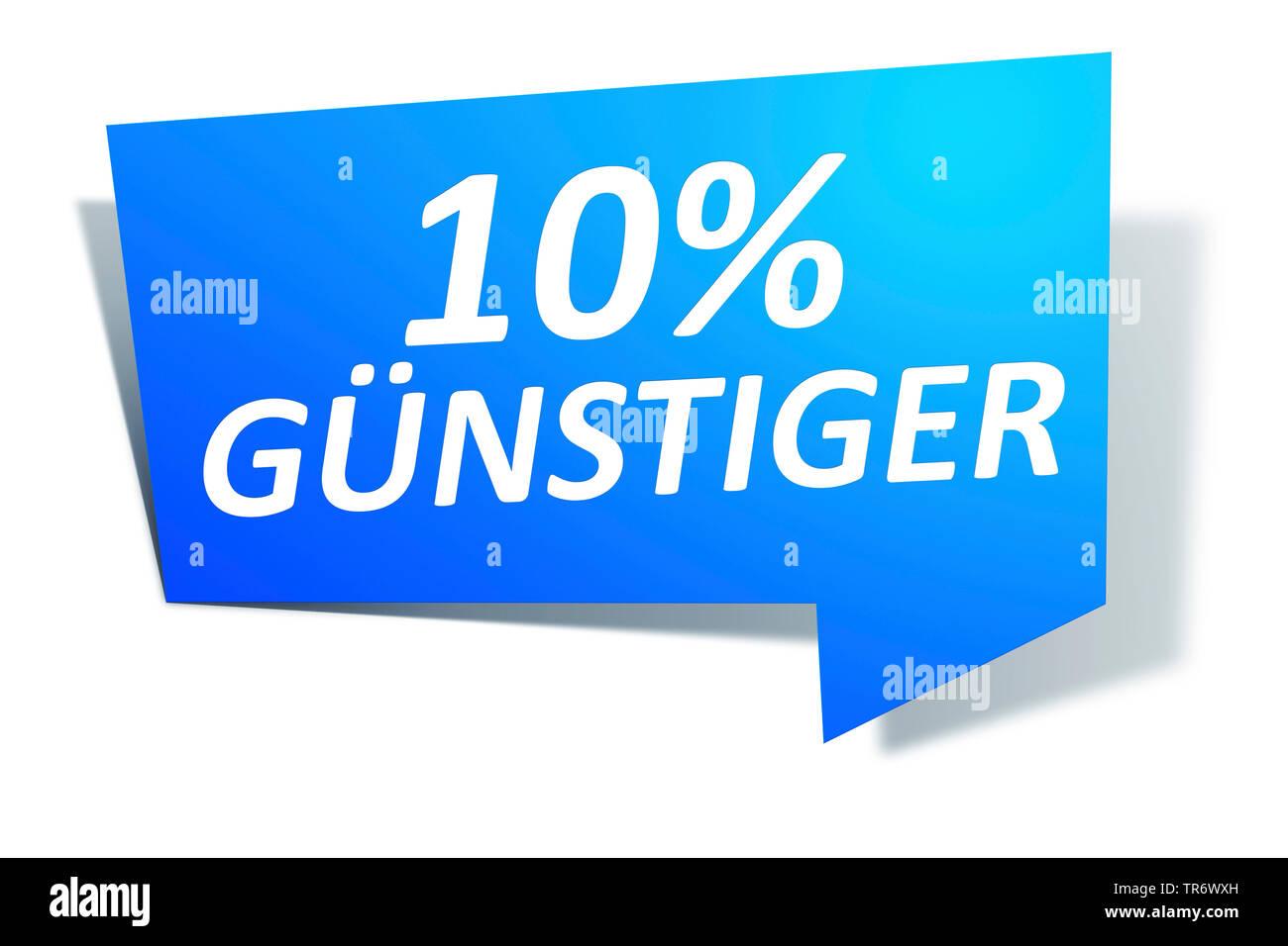 3D Computergrafik, blaue Sprechblase mit Text 10% GUENSTIGER, Europa | 3D computer graphic, blue speech bubble reading 10% GUeNSTIGER - 10% CHEAPER, E - Stock Image