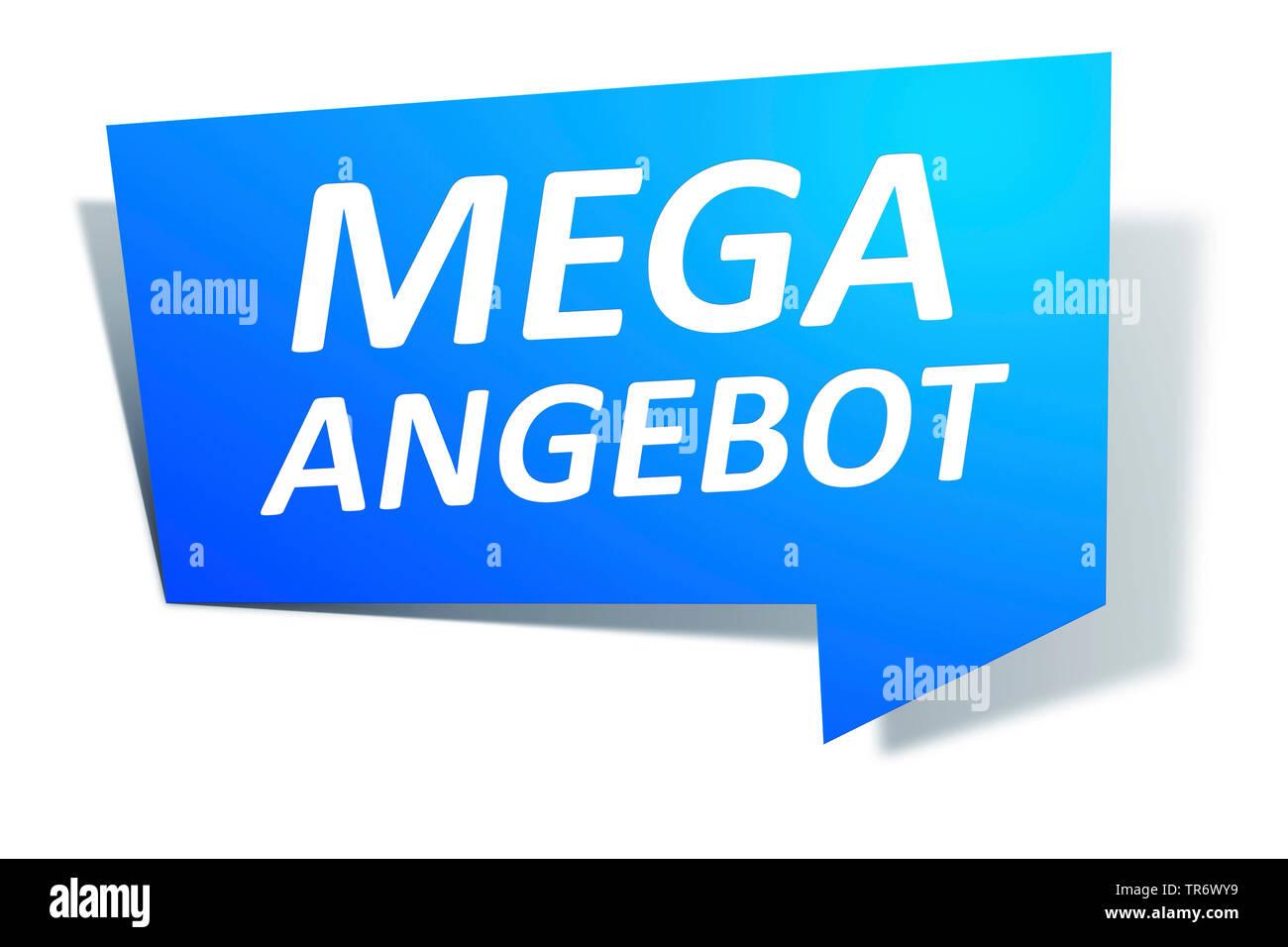 3D Computergrafik, blaue Sprechblase mit Text MEGA Angebot, Europa | 3D computer graphic, blue speech bubble reading MEGA ANGEBOT - TOP OFFERS, Europe - Stock Image