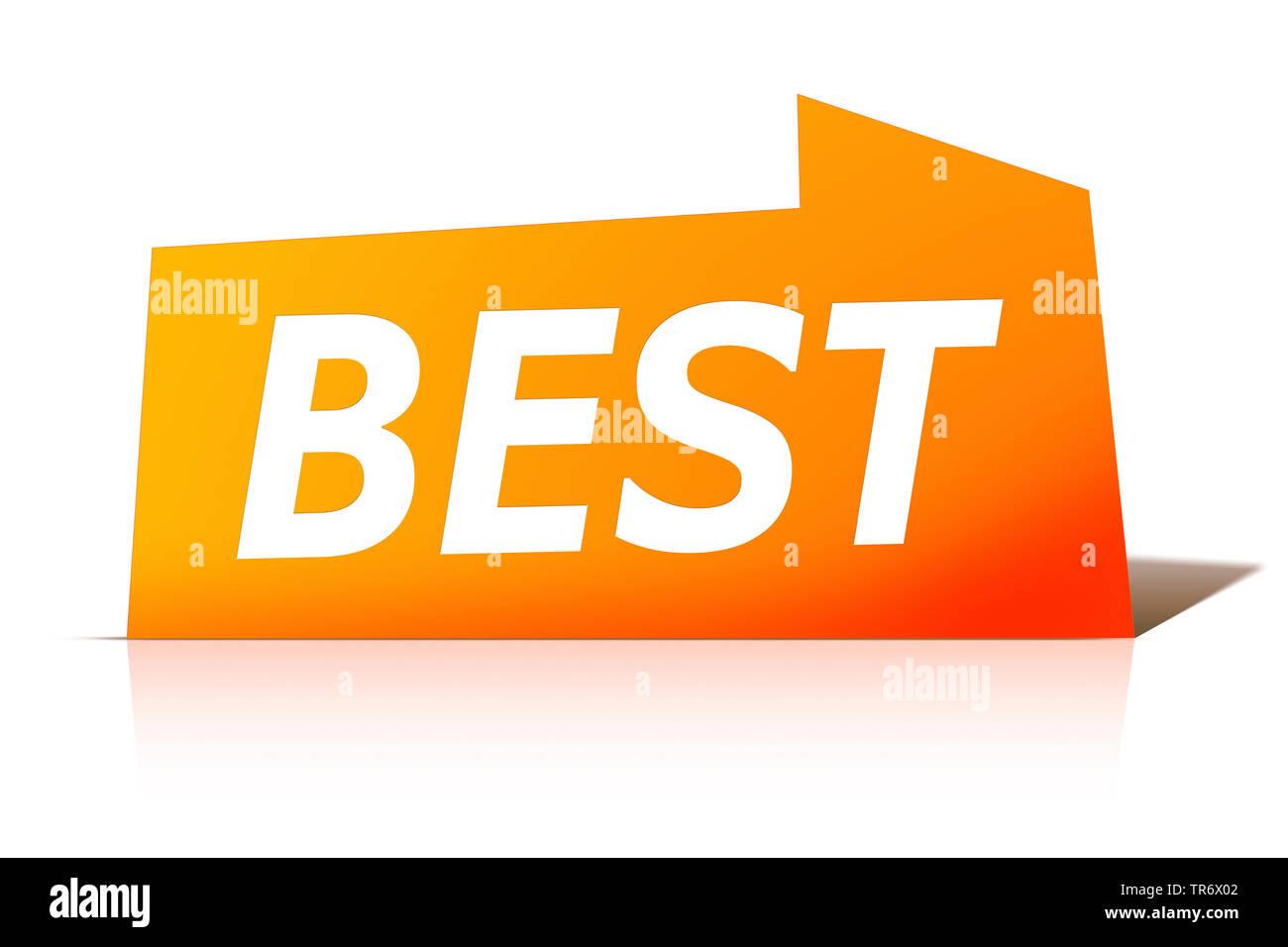 3D Computergrafik, orange Sprechblase mit Text BEST, Europa | 3D computer graphic, orange speech bubble reading BEST, Europe | BLWS491614.jpg [ (c) bl - Stock Image
