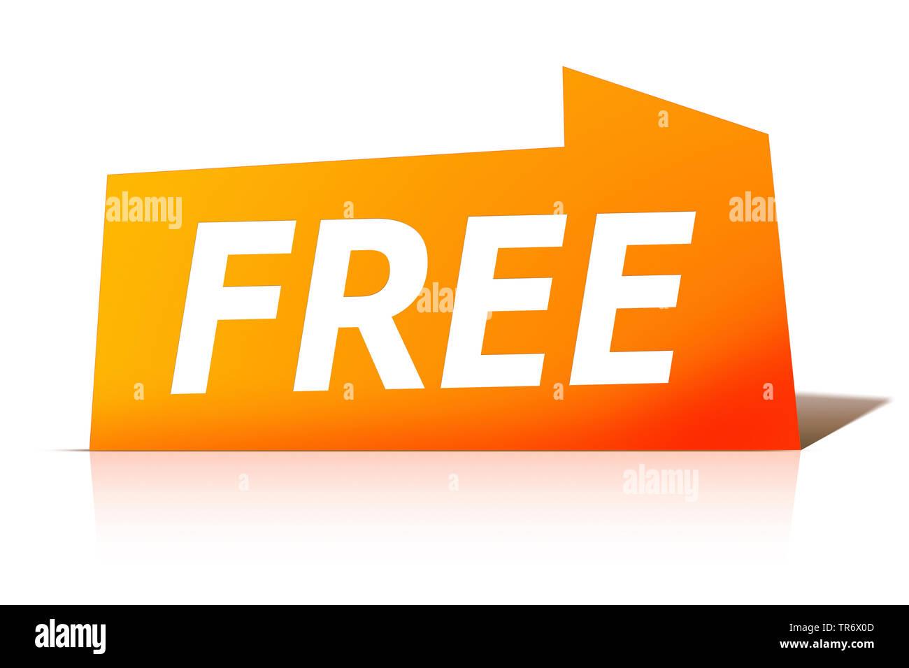 3D Computergrafik, orange Sprechblase mit Text FREE, Europa | 3D computer graphic, orange speech bubble reading FREE, Europe | BLWS491623.jpg [ (c) bl - Stock Image