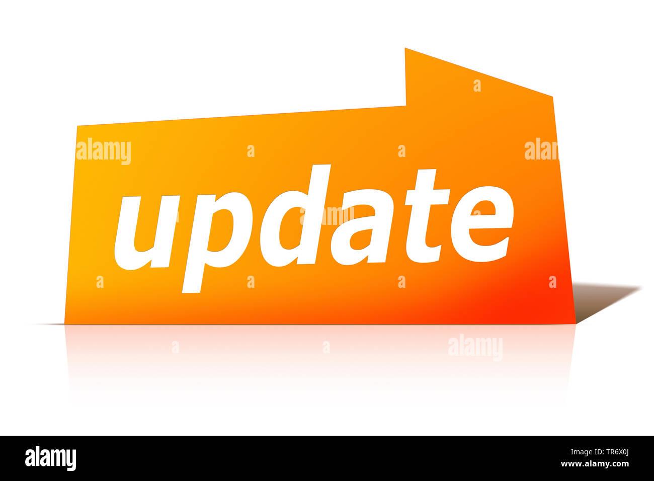 3D Computergrafik, orange Sprechblase mit Text UPDATE, Europa | 3D computer graphic, orange speech bubble reading UPDATE, Europe | BLWS491628.jpg [ (c - Stock Image