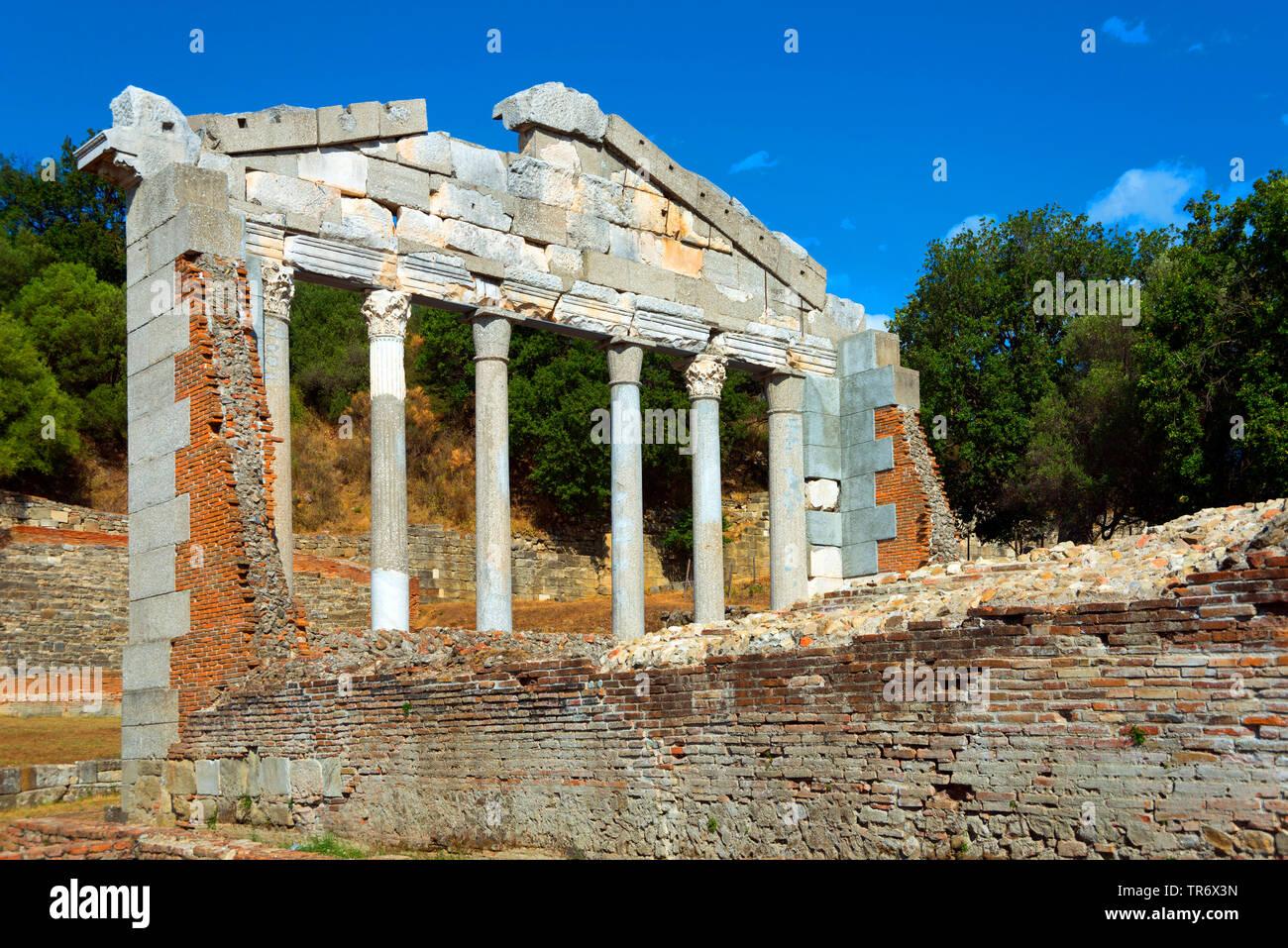 Restauriertes Monument der Agonotheten, Bestandteil des Buleuterion, Ruinenstaette Apollonia, Albanien, Fier | Monument of Agonothetes, ruind of ancie - Stock Image
