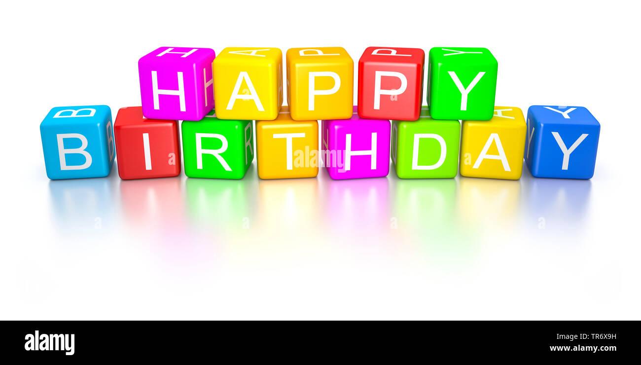 3D-Computergrafik, Wuerfel in verschiedenen Farben mit Aufschrift HAPPY BIRTHDAY, Europa | 3D computer graphic, cubes in multiple colors with letterin - Stock Image
