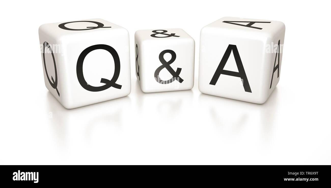 3D-Computergrafik, Wuerfel mit Aufschrift Q&A (questions and answers) (Fragen und Antworten), Europa | 3D computer graphic, cubes with lettering Q&A ( - Stock Image
