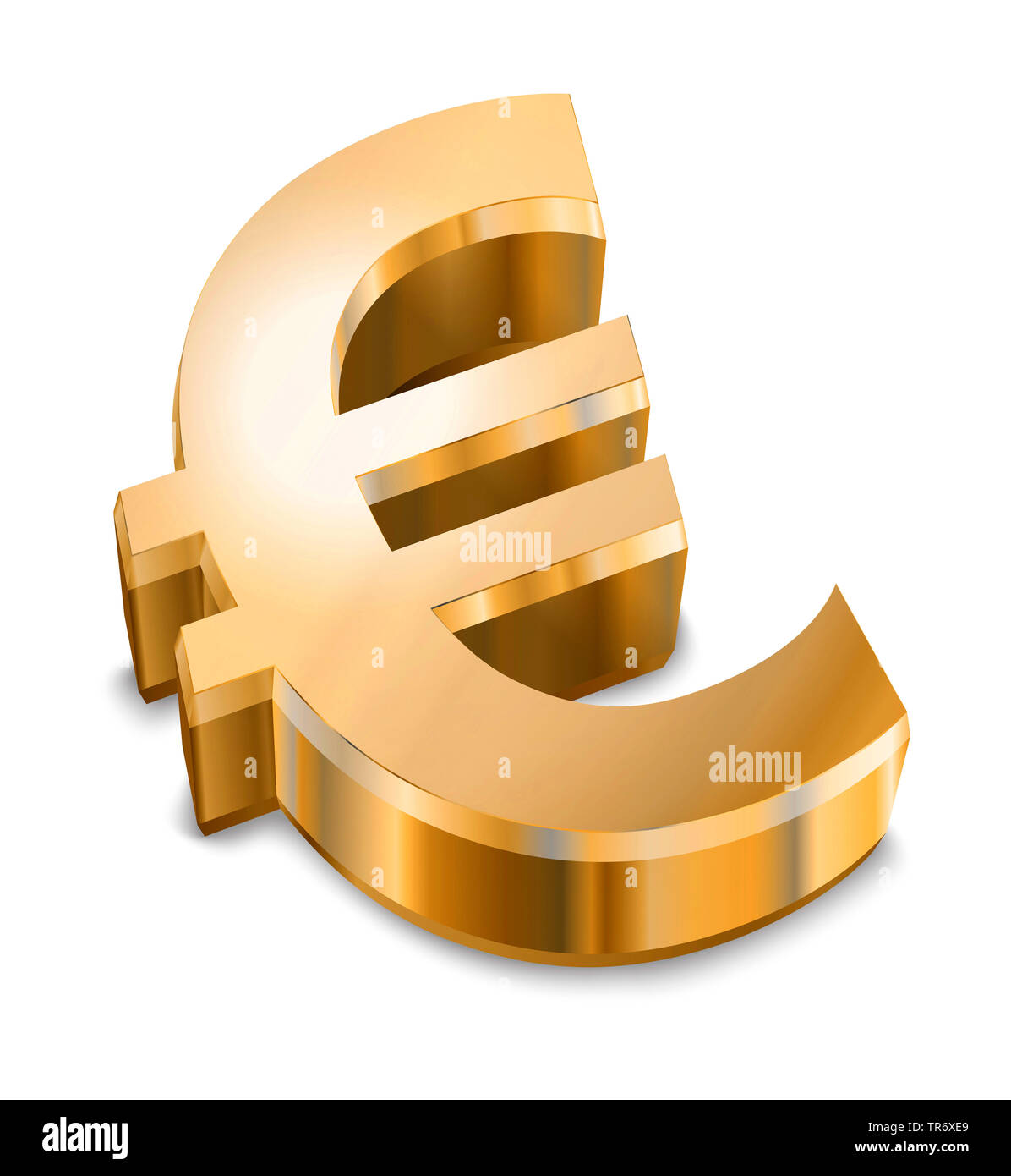 3D computer graphic, text symbol in gold color reading EURO Stock Photo