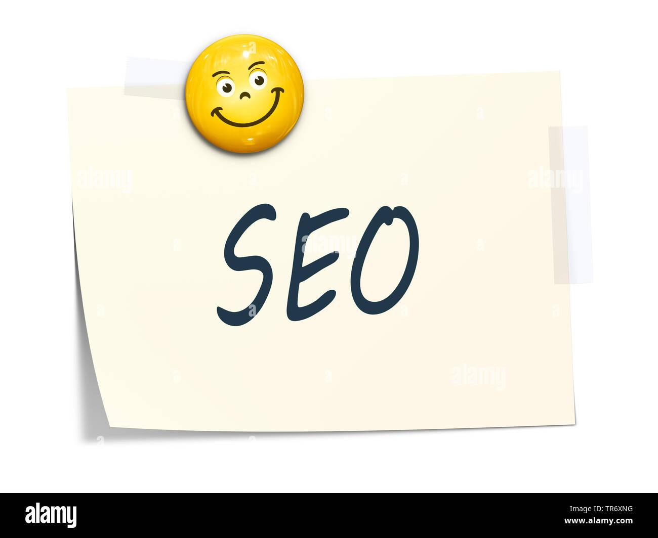 3D-Computergrafik, Notizzettel in Gelb mit Smiley mit Aufschrift SEO (search engine optimization) | 3D computer graphic, memo in yellow color with smi - Stock Image