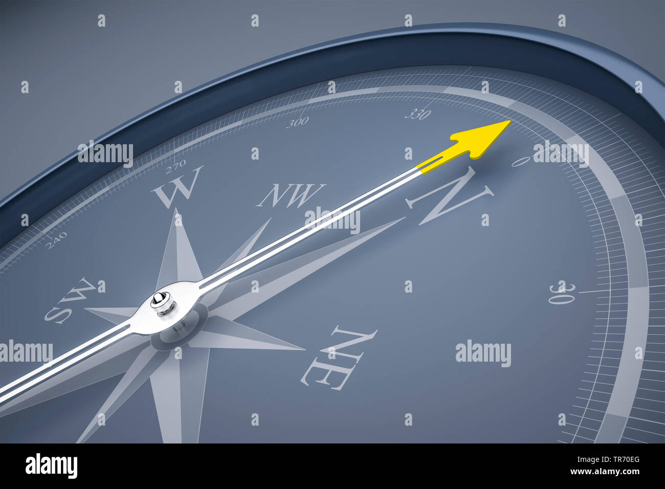 3D computer graphic, compass in grey color without text pointing north Stock Photo