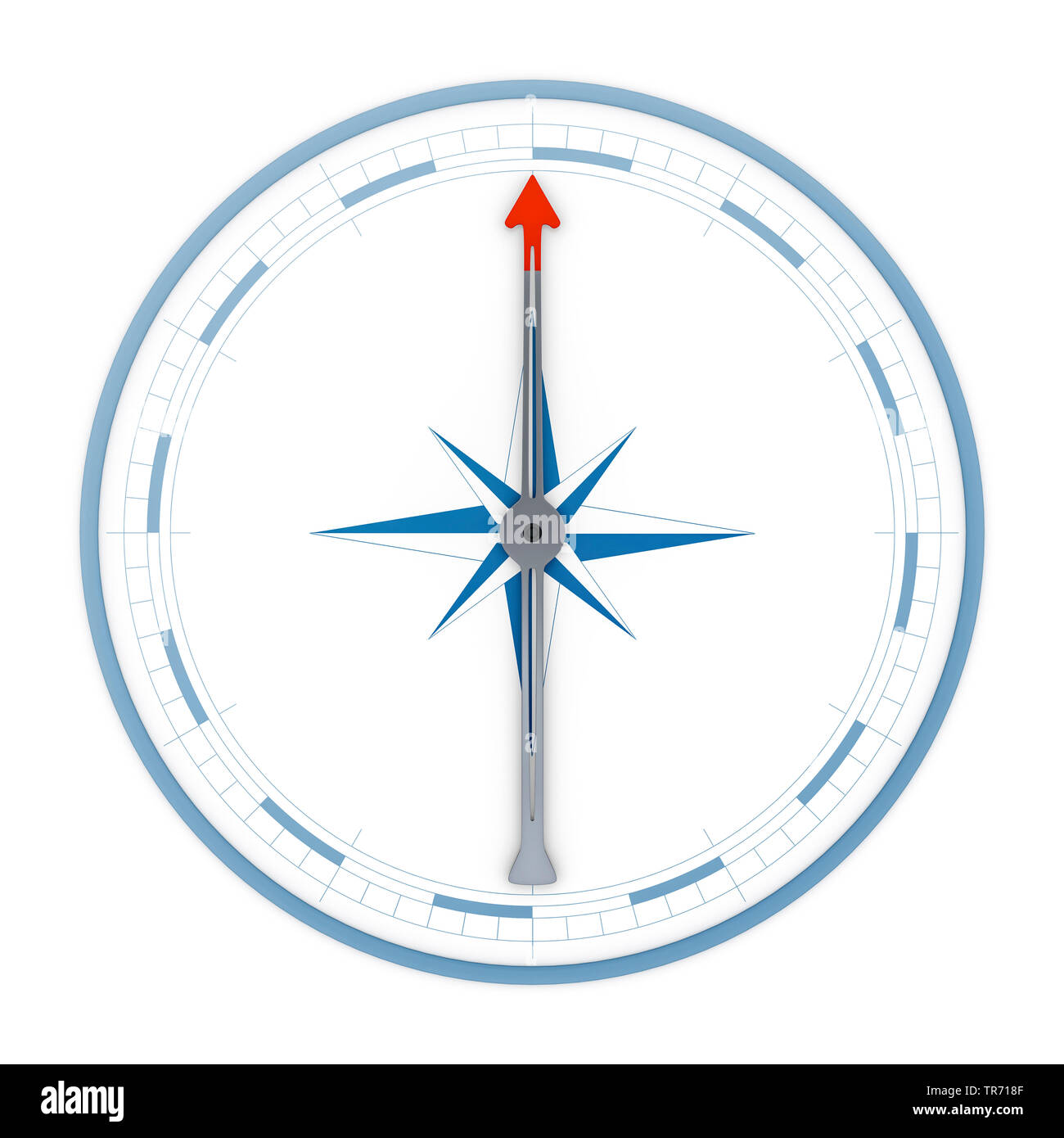 3D computer graphic, compass in weite without text arrow pointing up Stock Photo