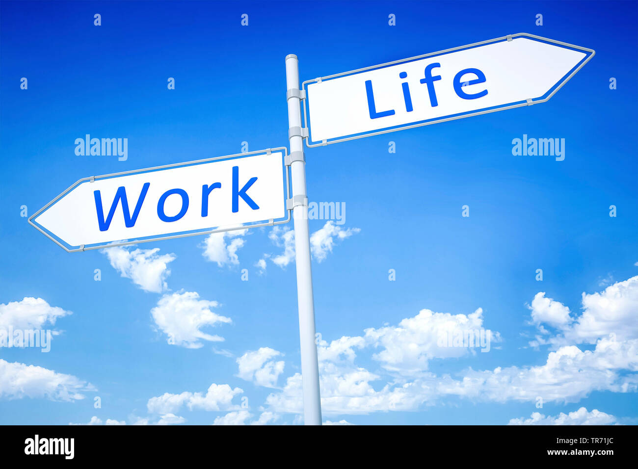 3D computer graphic, road signs in white color pointing in opposite direction lettering WORK and LIFE - Stock Image