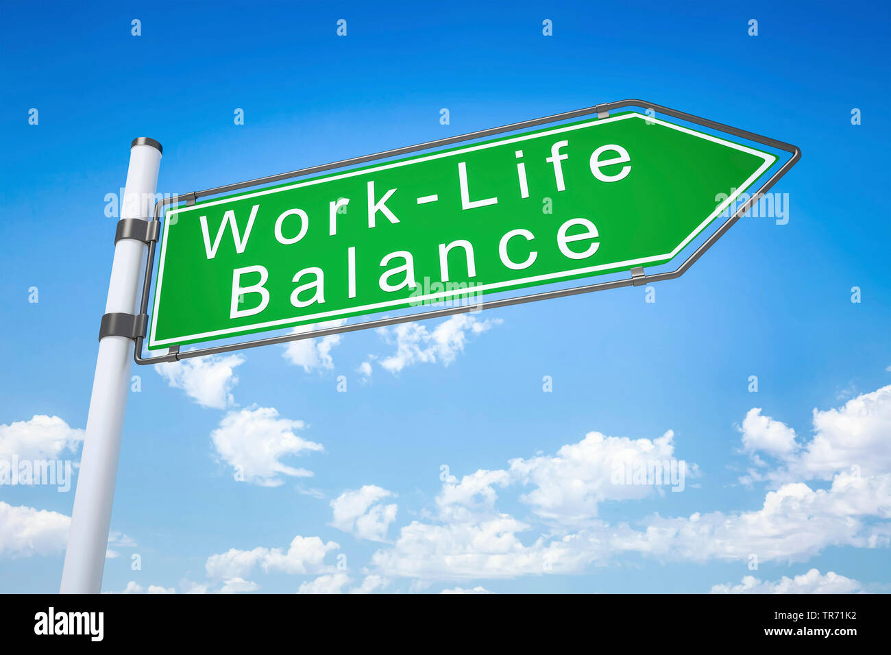 3D computer graphic, road sign in green color lettering WORK LIFE BALANCE - Stock Image