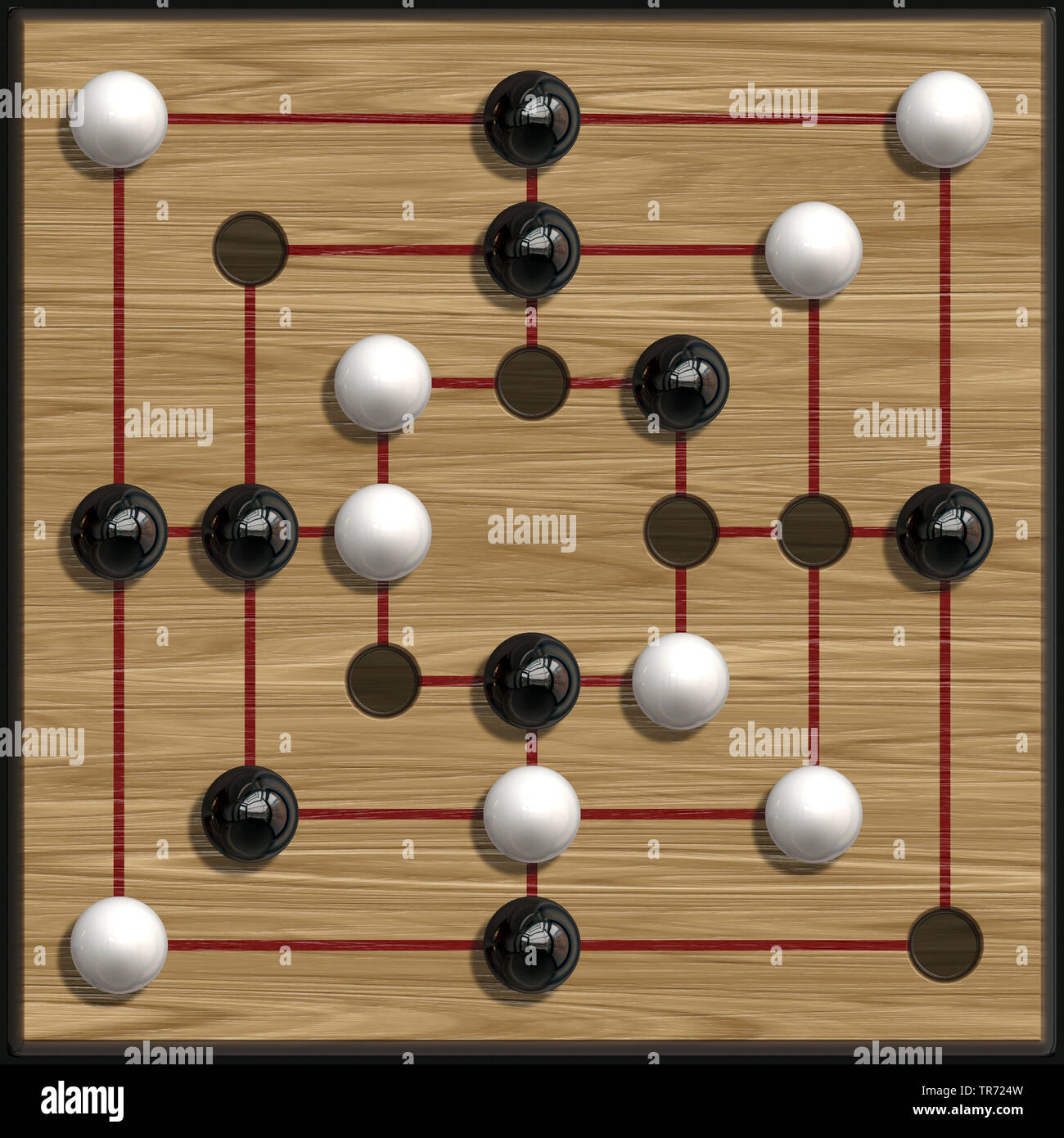 3D-Computergrafik, Darstellung eines Muehle-Spielbretts | 3D computer graphic, illustration of a nine-men's morris game board | BLWS495297.jpg [ (c) b - Stock Image