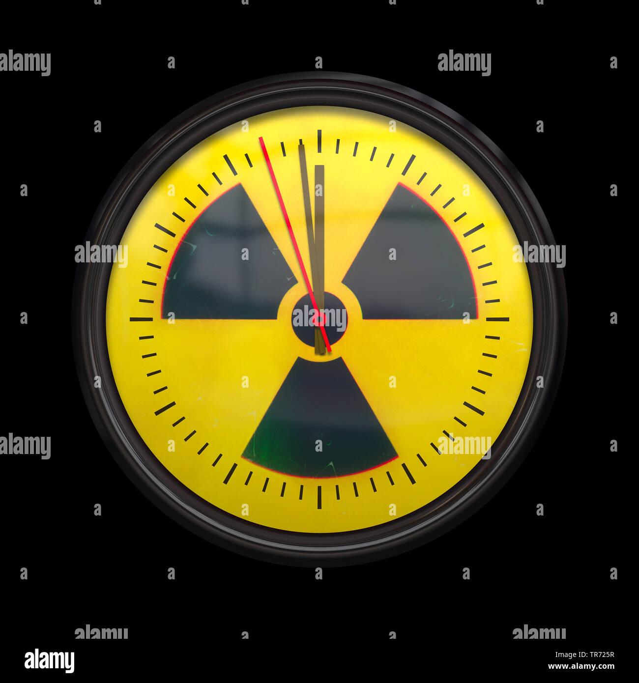 3D-Computergrafik, Uhr mit Zeigern 1 vor 12 mit dem Symbol fuer RADIOAKTIVE STRAHLUNG als Hintergrund   3D computer graphic, clock with clock hands 1 - Stock Image