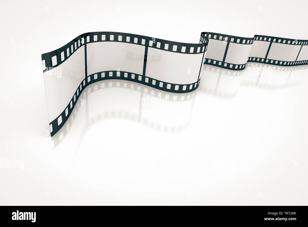 3D computer graphic, symbolic blank film reel against white blackground Stock Photo