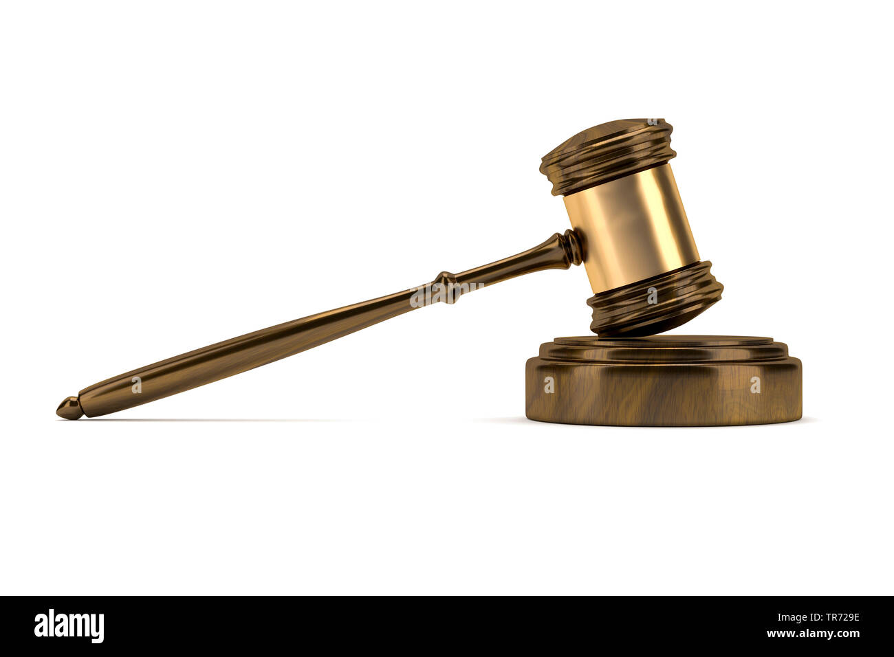 3D-Computergrafik, Justizhammer aus Holz vor weissem Hintergrund | 3D computer graphic, ustice hammer out of wood against white background | BLWS49542 - Stock Image