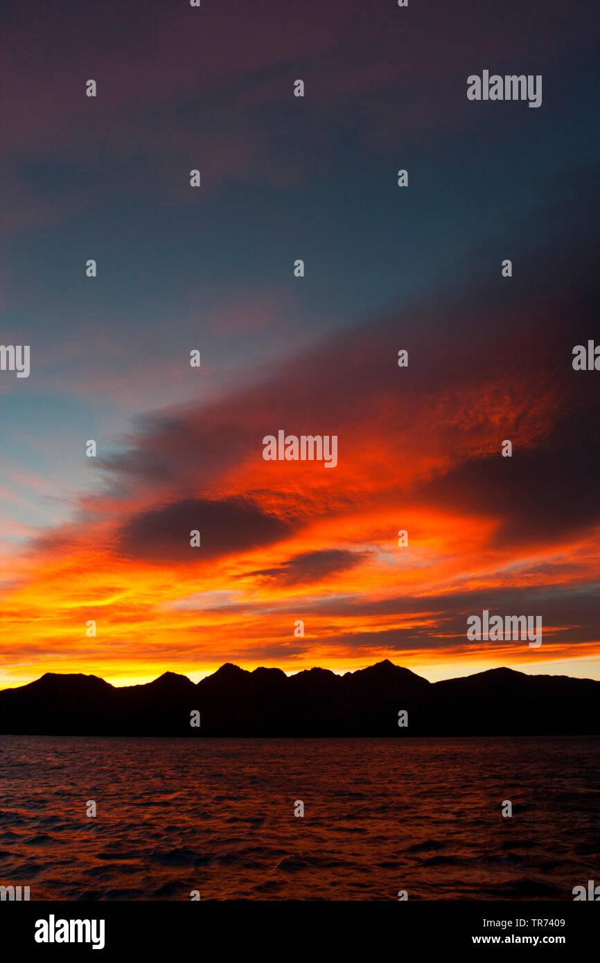 Sunset at South Georgia, Suedgeorgien - Stock Image